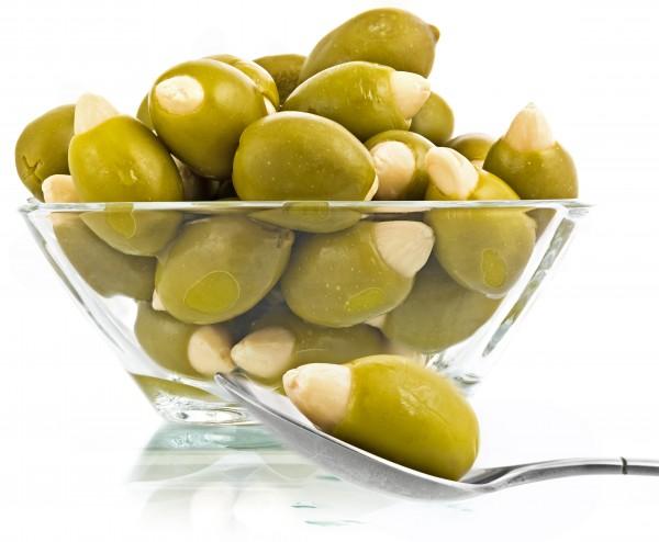 Grüne Oliven gefüllt mit Knoblauch 500g