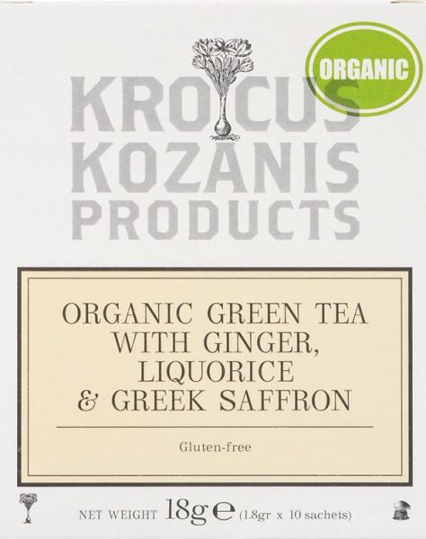 Krocus Kozanis Bio Grüner Tee mit Ingwer, Lakritze und Safran