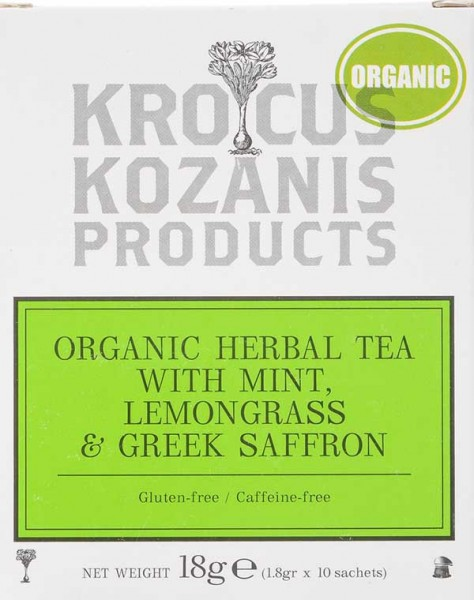 Krocus Kozanis Kräutertee mit Minze, Zitronengras und Safran
